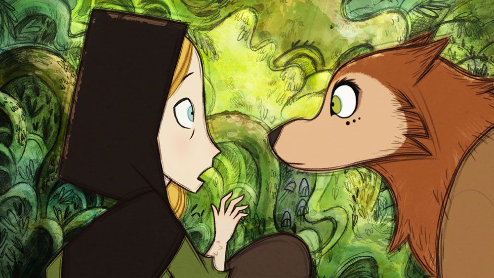 """Robyn Goodfellowe (voice: Honor Kneafsey) and Mebh Og Mactire (voice: Eva Whittaker) in """"Wolfwalkers."""""""