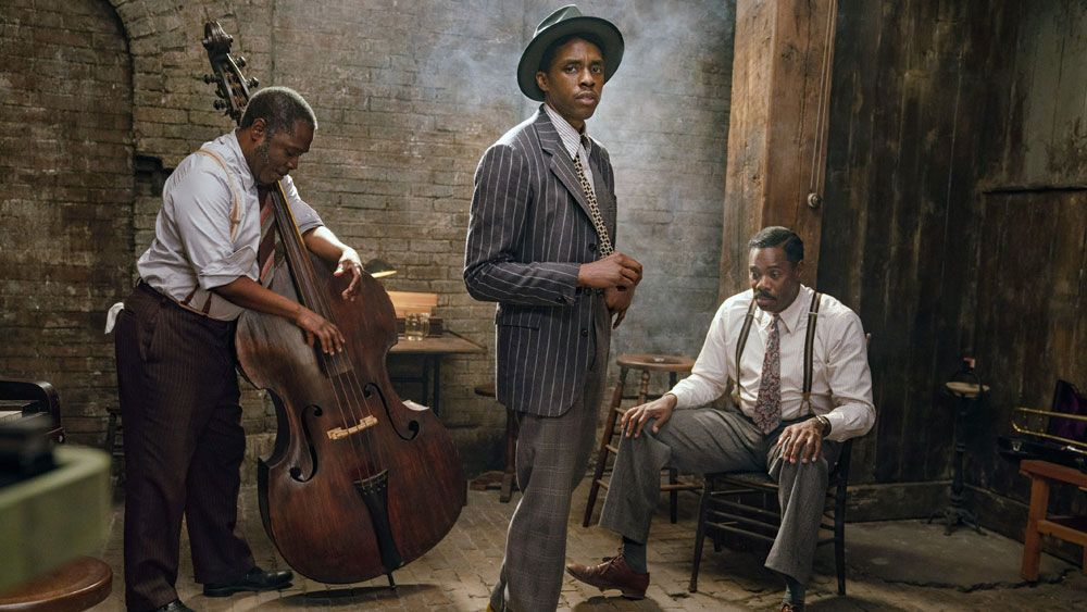 "Michael Potts, Chadwick Boseman and Colman Domingo in ""Ma Rainey's Black Bottom."""