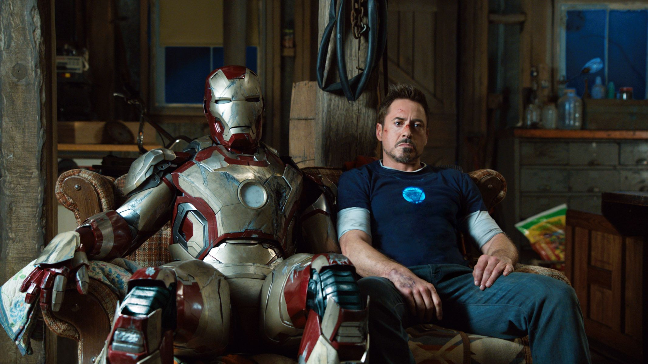 "Robert Downey Jr in ""Iron Man 3."""