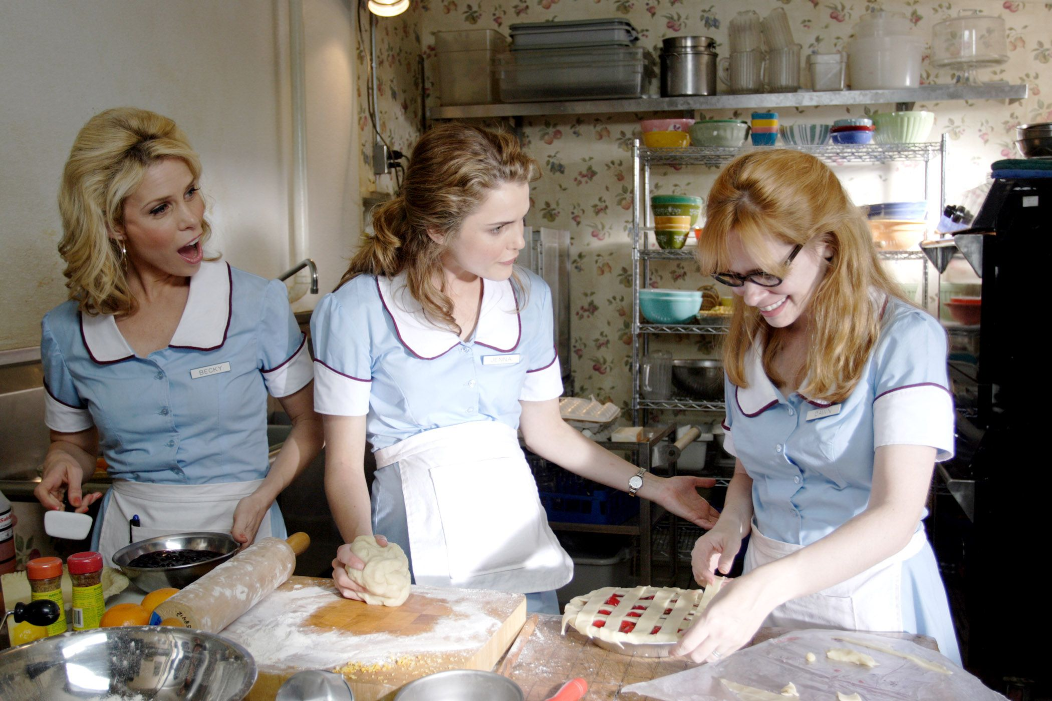 """Cheryl Hines, Keri Russell, Adrienne Shelly in """"Waitress."""""""