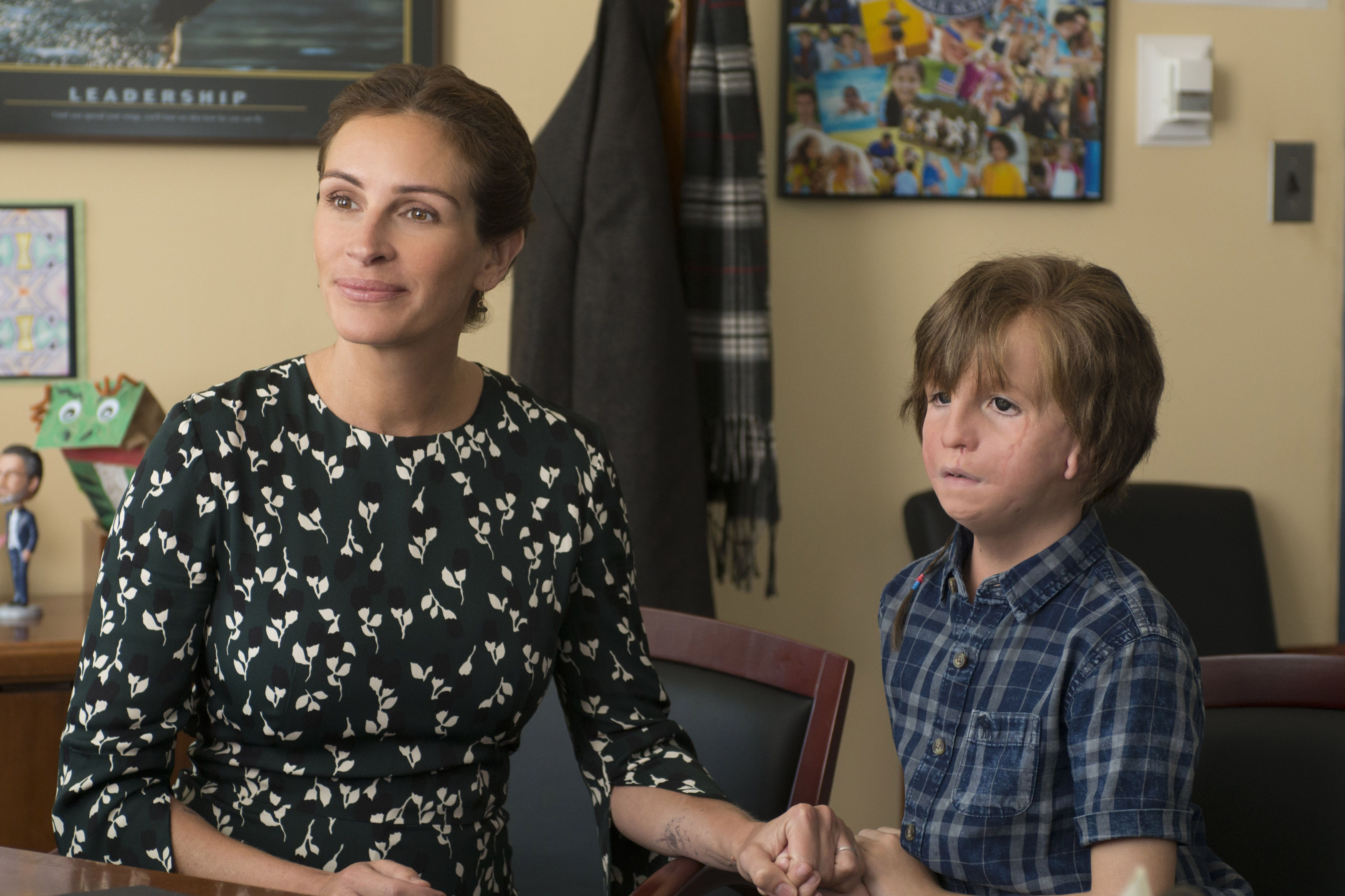 "Julia Roberts and Jacob Tremblay in ""Wonder."""