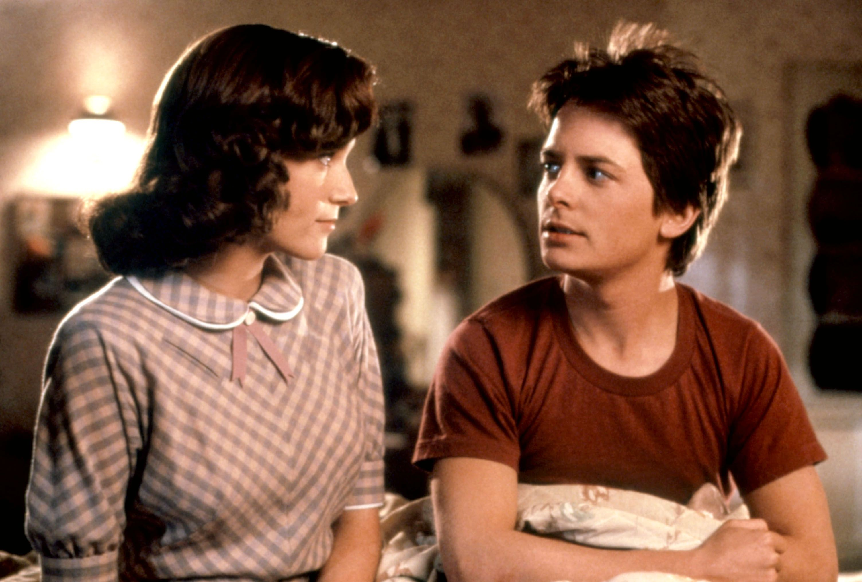 """Lea Thompson and Michael J. Fox in """"Back to the Future."""""""