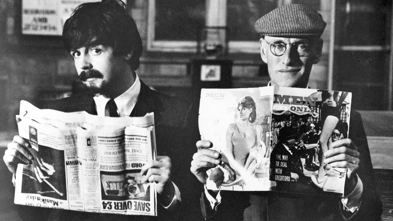 """Paul McCartney and Wilfrid Brambell in """"A Hard Day's Night."""""""