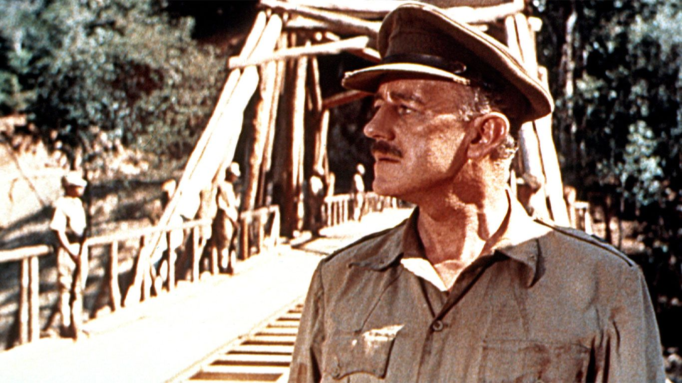 """Alec Guinness in """"The Bridge on the River Kwai."""""""