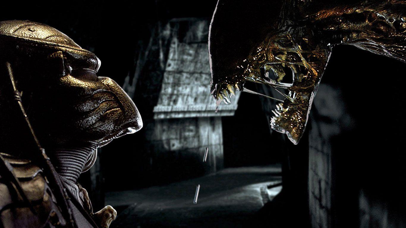 "Predator comes face-to-face with Alien in ""Alien vs. Predator."""