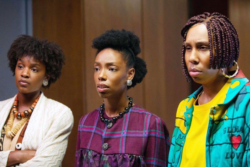 "Yaani King Mondschein, Elle Lorraine, Lena Waithe in ""Bad Hair."""
