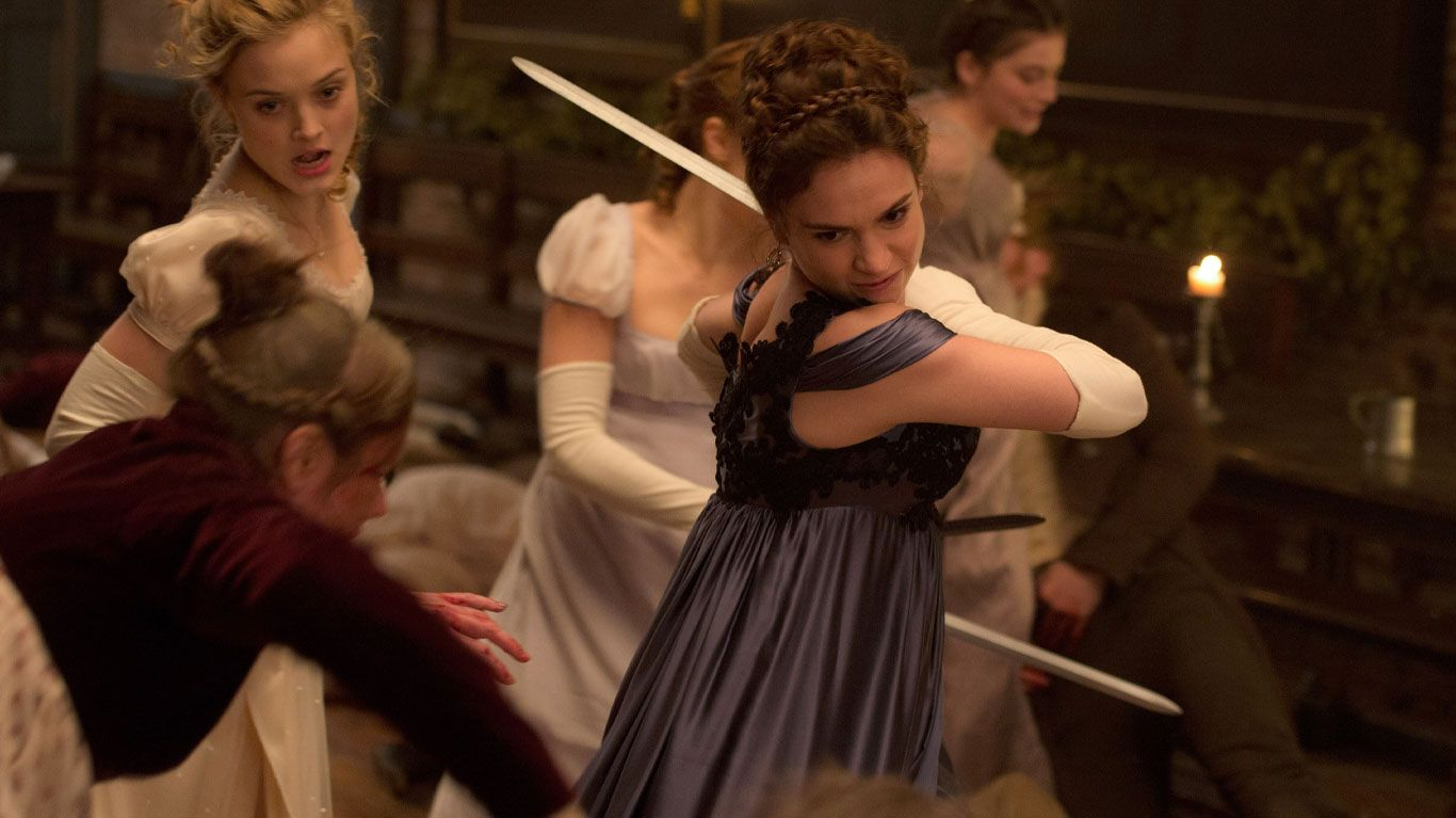 """Bella Heathcote (back left), Lily James (center) in """"Pride and Prejudice and Zombies."""""""