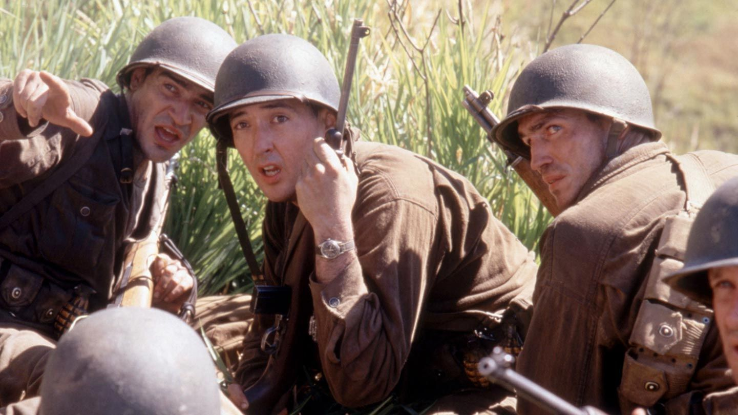 """Ben Chaplin, John Cusack, and James Caviezel in """"The Thin Red Line."""""""
