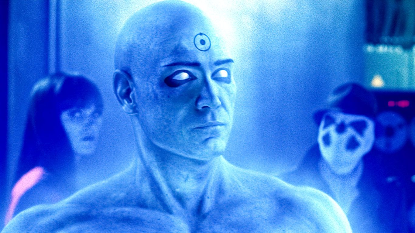 "Malin Akerman, Billy Crudup, Jackie Earle Haley in ""Watchmen."""