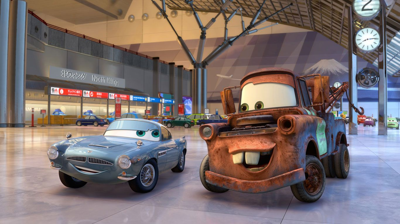 """Finn McMissile (voice: Michael Caine), Mater (voice: Larry the Cable Guy) in """"Cars 2."""""""