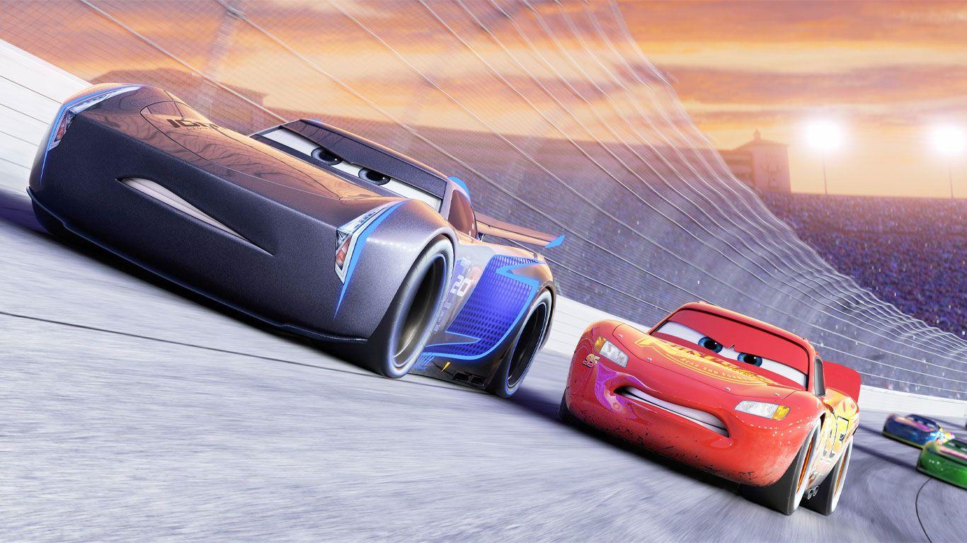 "Jackson Storm (voice: Armie Hammer), Lightning McQueen (voice: Owen Wilson) in ""Cars 3."""
