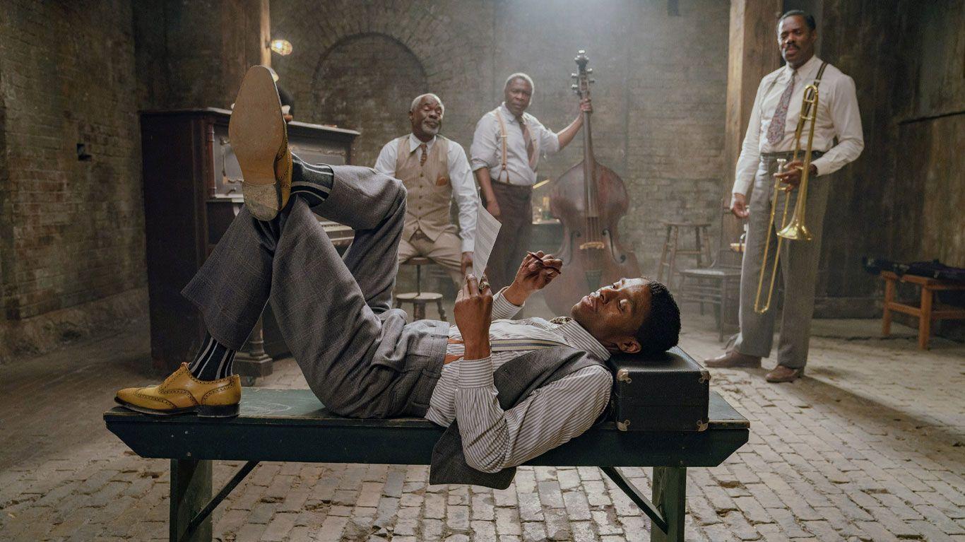 "Chadwick Boseman, Glynn Turman, Michael Potts, Colman Domingo in ""Ma Rainey's Black Bottom."""
