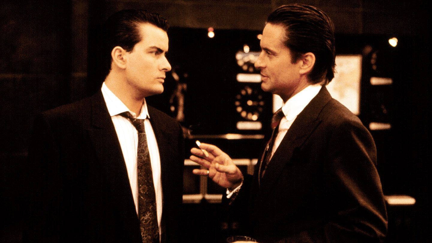 """Charlie Sheen and Michael Douglas in """"Wall Street."""""""