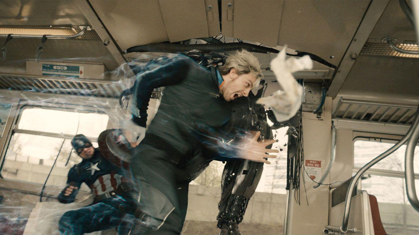 "Chris Evans as Captain America, Aaron Taylor-Johnson as Quicksilver/Pietro Maximoff in ""Avengers: Age of Ultron."""