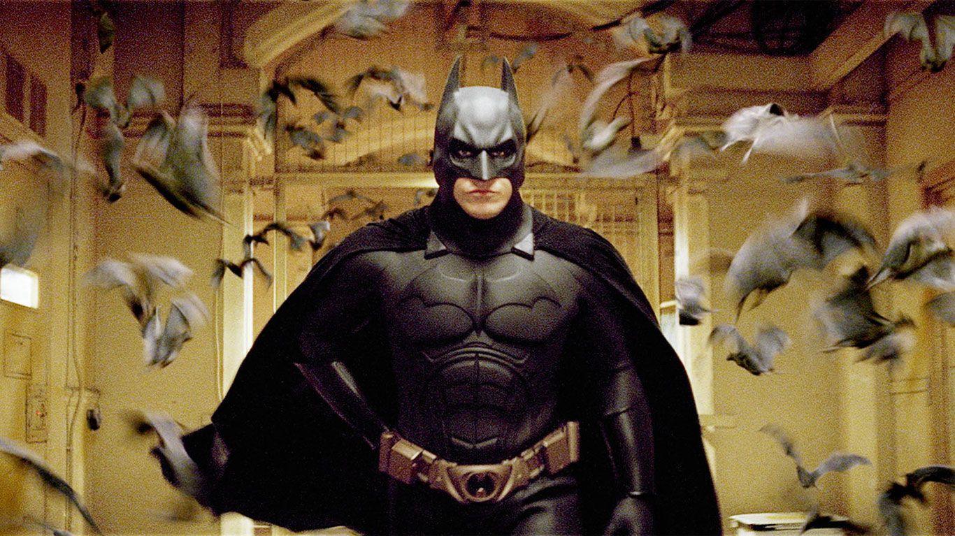 "Christian Bale in ""Batman Begins."""