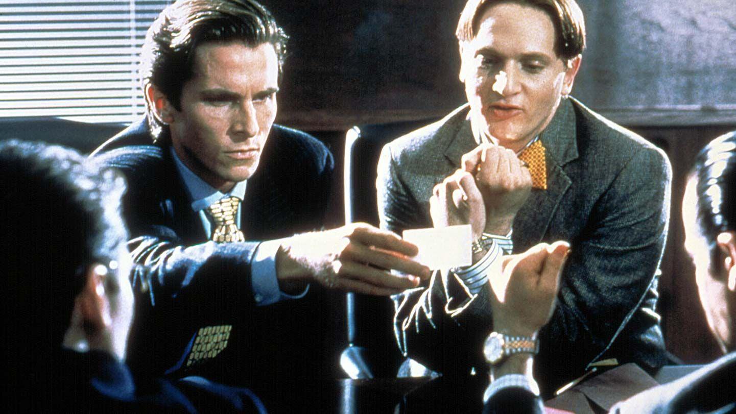 "Christian Bale and Matt Ross in ""American Psycho."""