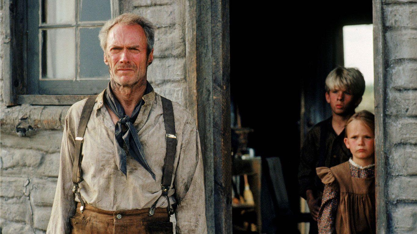 """Clint Eastwood, Shane Meier, Aline Lavasseur in """"Unforgiven."""""""
