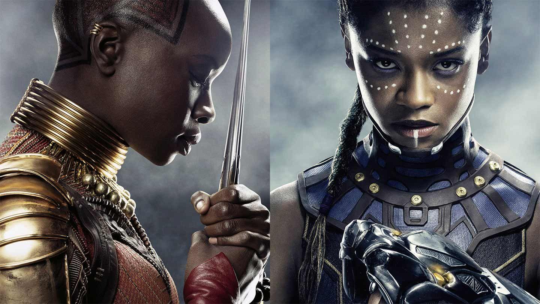 "Danai Gurira and Letitia Wright in ""Black Panther."""