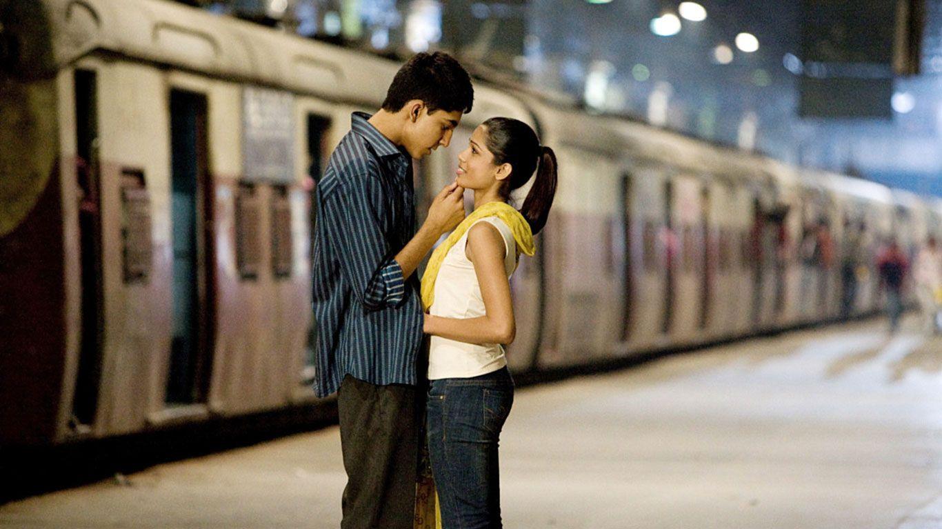 "Dev Patel and Freida Pinto in ""Slumdog Millionaire."""