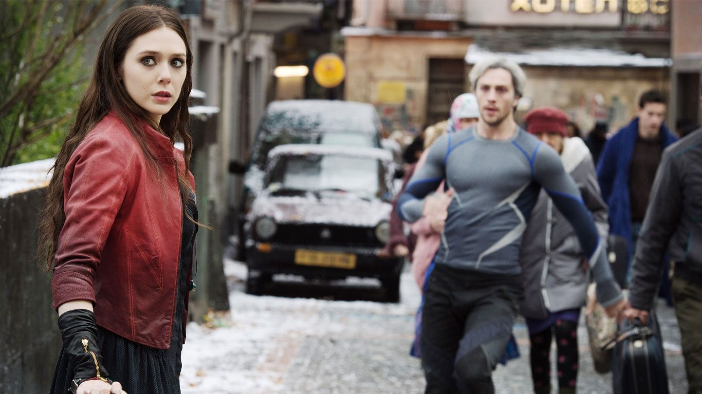 """Elizabeth Olsen and Aaron Taylor-Johnson in """"Avengers: Age of Ultron."""""""