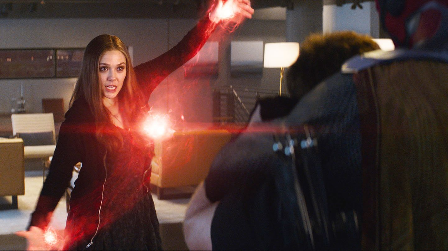"Elizabeth Olsen in ""Captain America: Civil War."""