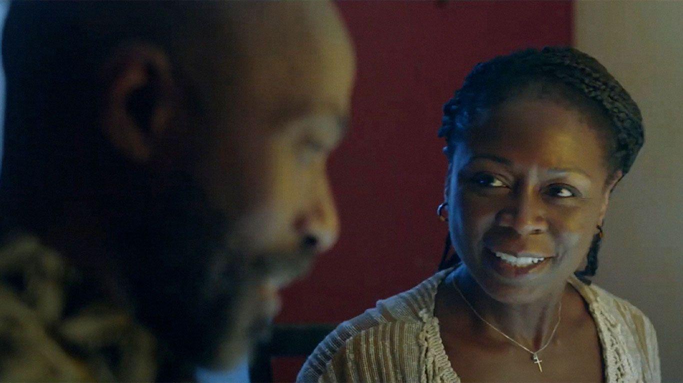 "Ntare Guma Mbaho Mwine, Zainab Jah in ""Farewell Amor."""