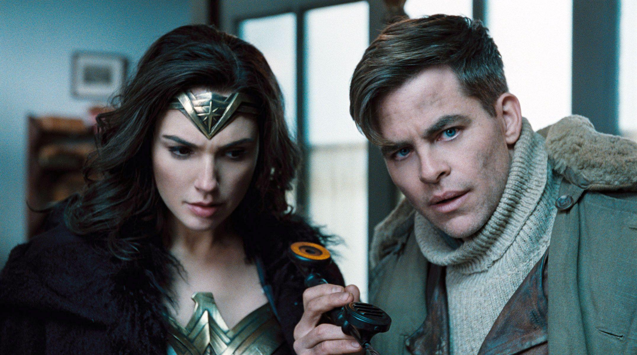 "Gal Gadot and Chris Pine in ""Wonder Woman."""