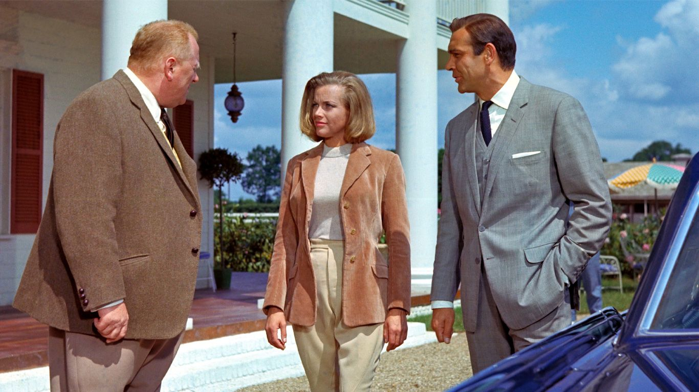 """Gert Frobe, Honor Blackman and Sean Connery in """"Goldfinger."""""""