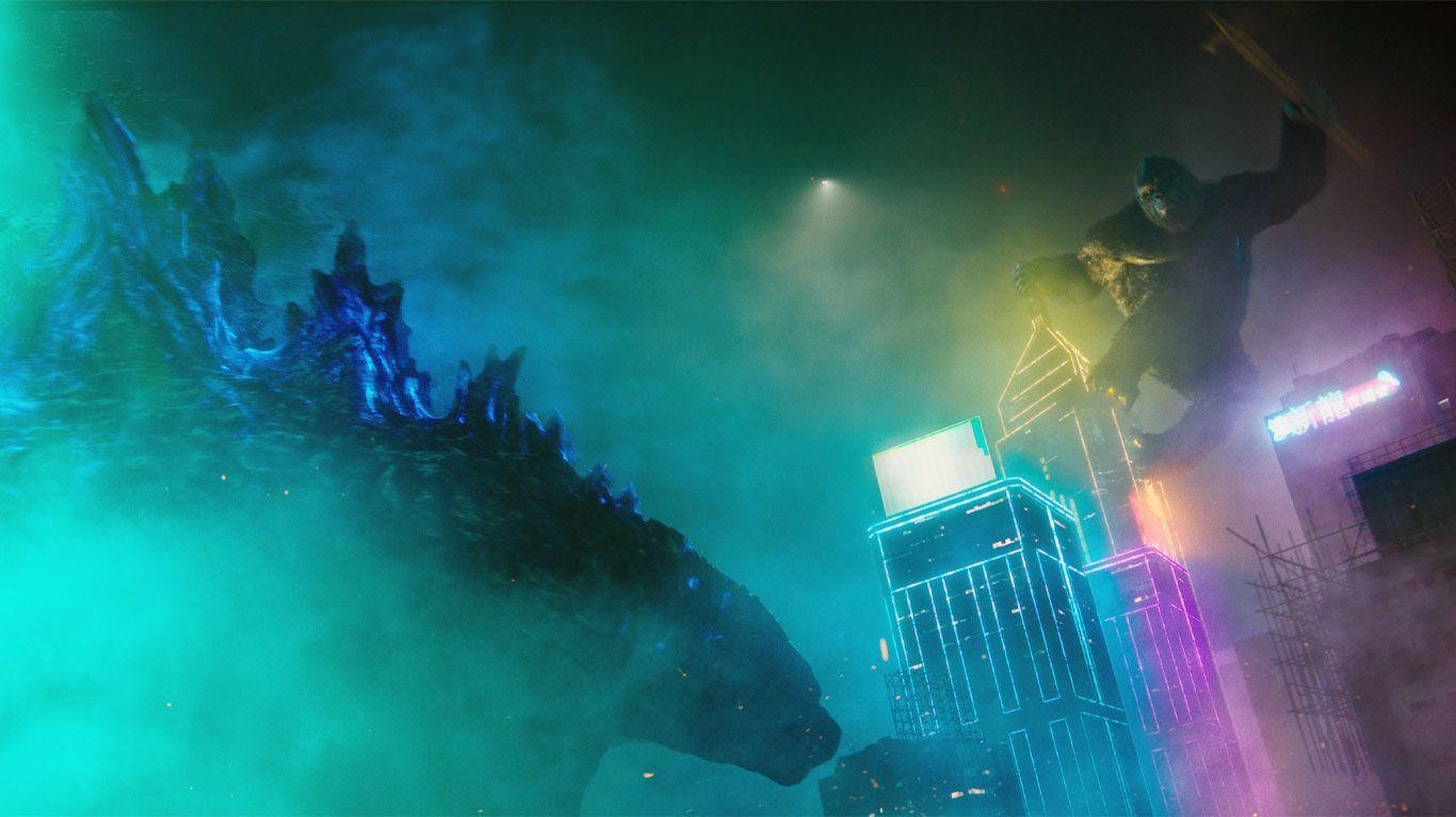 "Godzilla takes on Kong in ""Godzilla vs. Kong."""