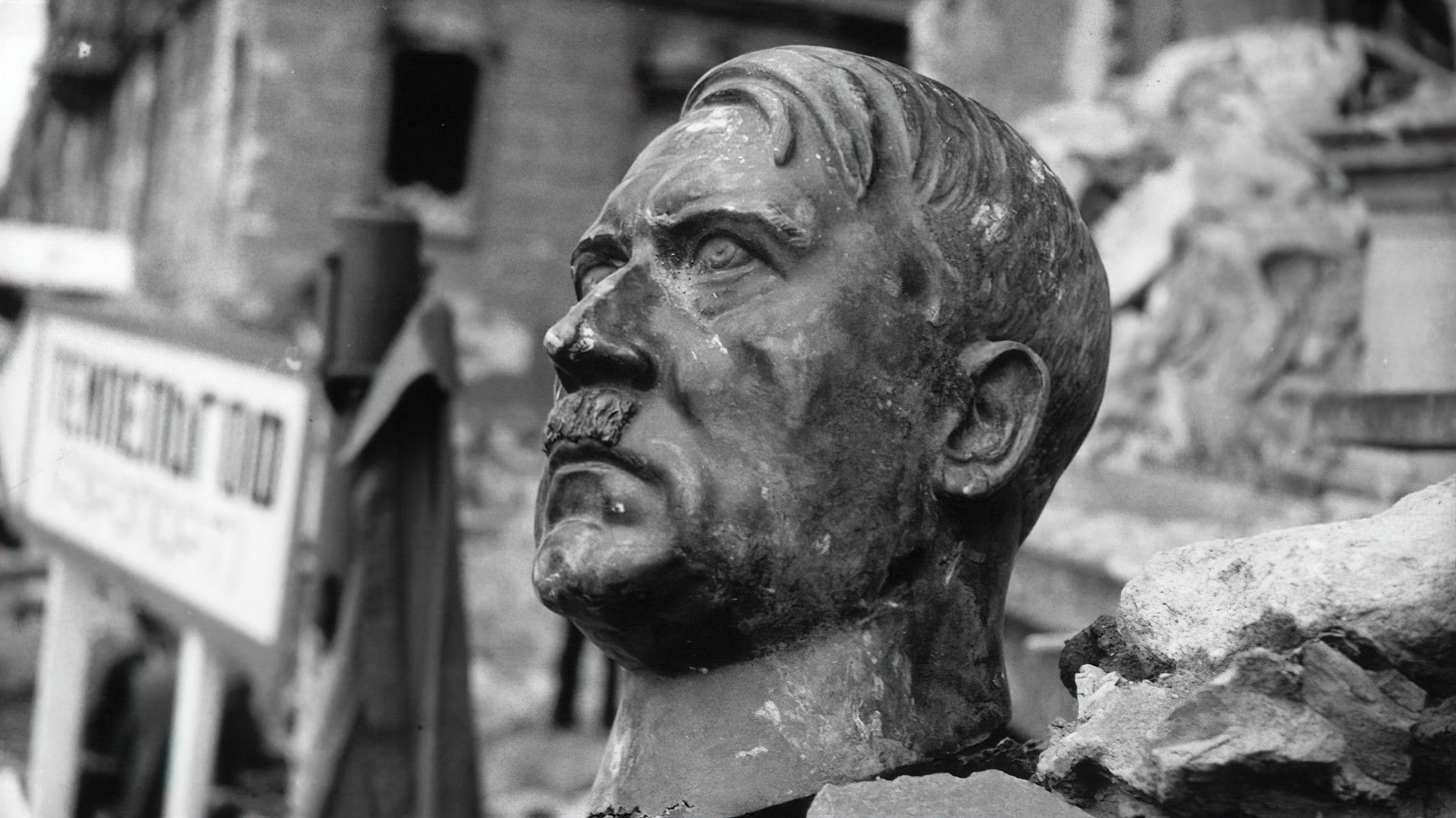 """Head of Adolf Hitler statue in """"The Meaning of Hitler."""""""