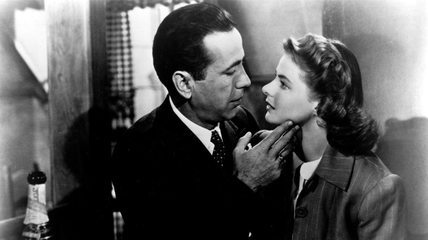 "Humphrey Bogart and Ingrid Bergman in ""Casablanca."""