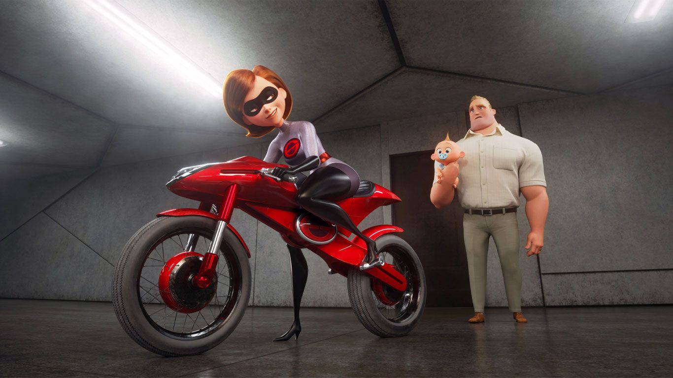 """Elastigirl (voice: Holly Huntger), Bob Parr (voice: Craig T. Nelson) in """"Incredibles 2."""""""