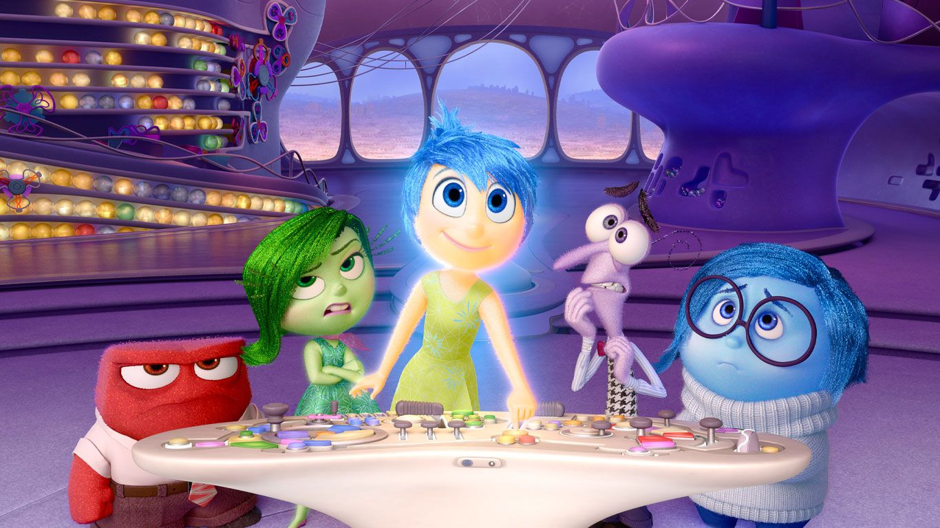 """Anger (voice: Lewis Black), Disgust (voice: Mindy Kaling), Joy (voice: Amy Poehler), Fear (voice: Bill Hader), Sadness (voice: Phyllis Smith) in """"Inside Out."""""""