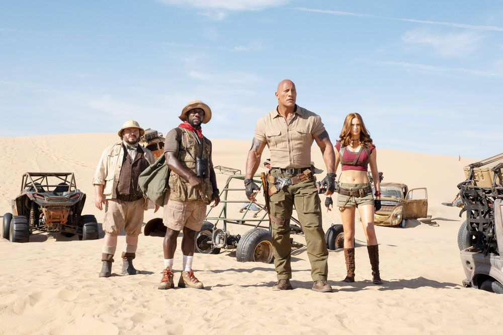 "Jack Black, Kevin Hart, Dwayne Johnson, and Karen Gillan in ""Jumanji: The Next Level."""