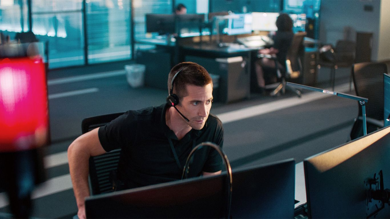 "Jake Gyllenhaal in ""The Guilty."""