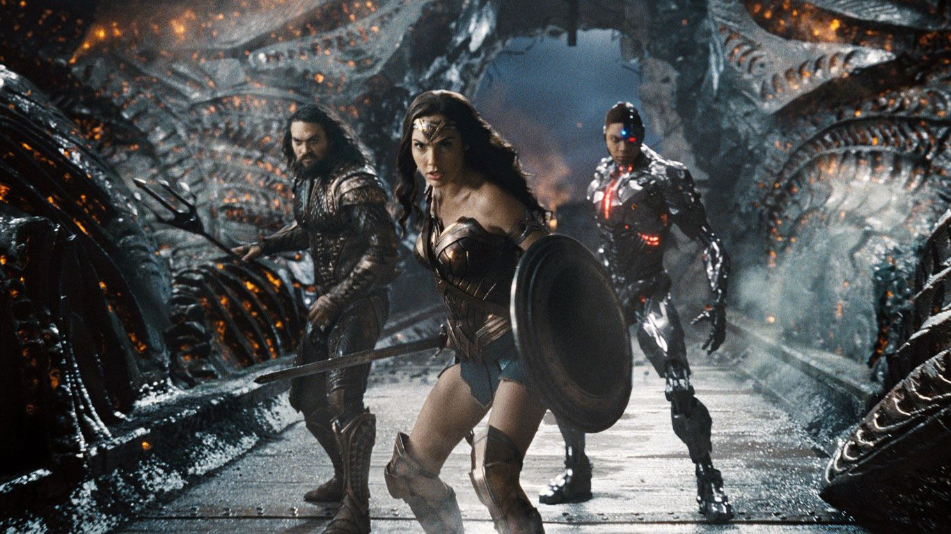 """Jason Momoa, Gal Gadot, and Ray Fisher in """"Zack Snyder's Justice League."""""""