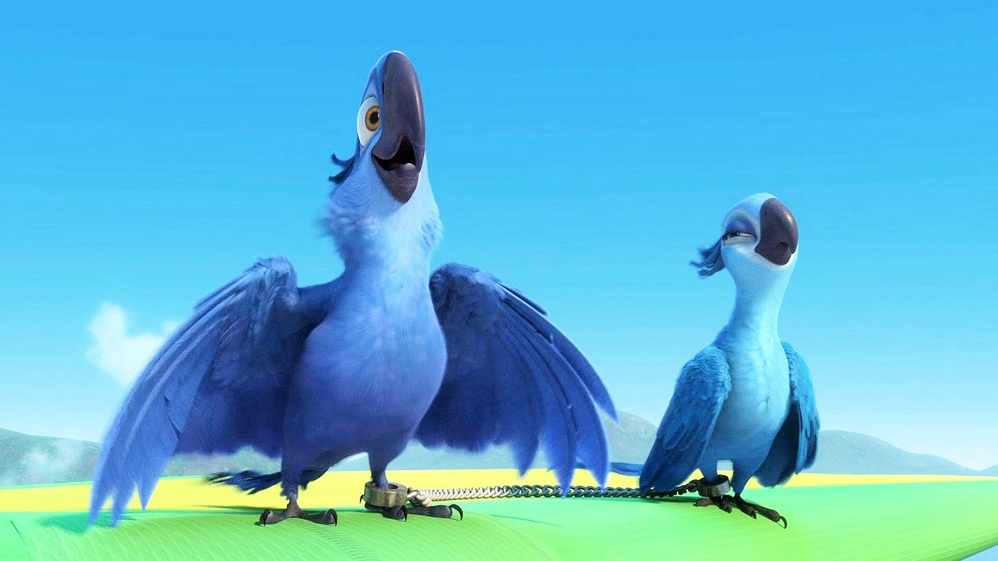 """Blu (voiced by Jesse Eisenberg) and Jewel (voiced by Anne Hathaway) in """"Rio."""""""