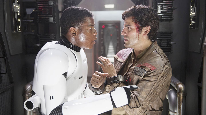 "John Boyega and Oscar Isaac in ""Star Wars: The Force Awakens."""