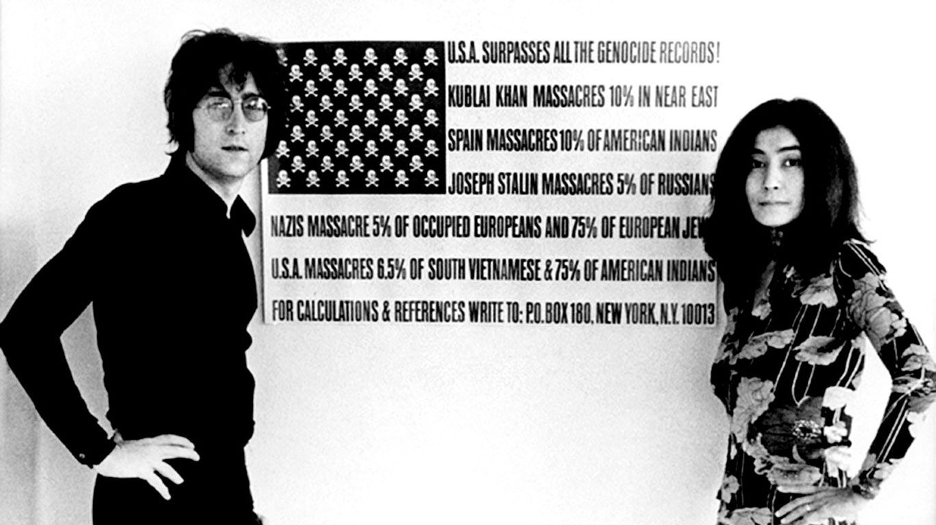 "John Lennon and Yoko Ono in ""The U.S. vs. John Lennon."""