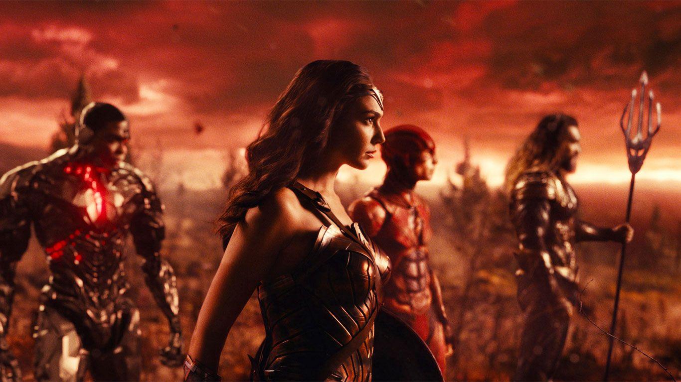 "Ray Fisher, Gal Gadot, Ezra Miller, Jason Momoa in ""Justice League."""