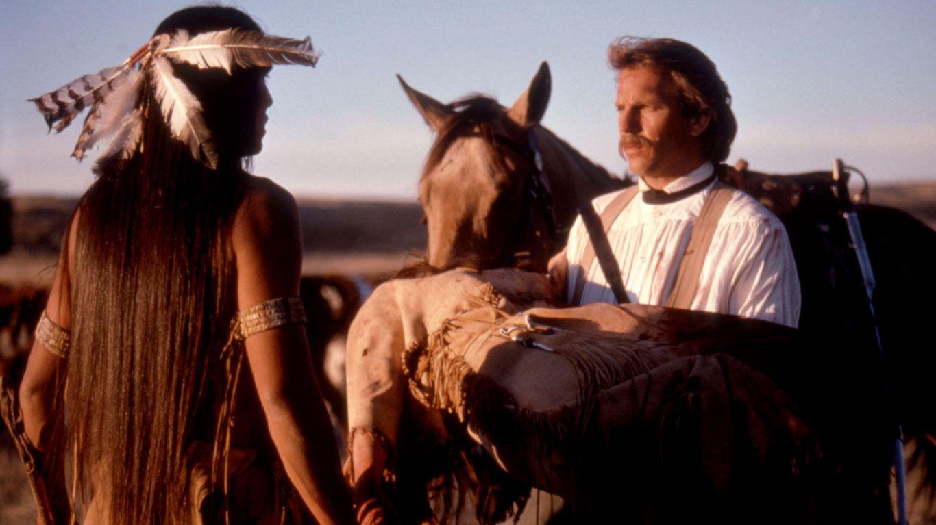 "Rodney Grant, Kevin Costner in ""Dances with Wolves."""