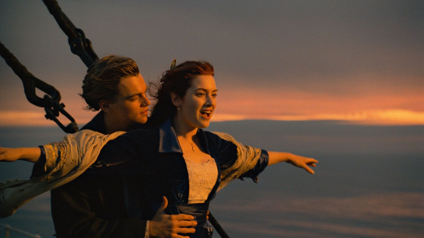 "Leonardo DiCaprio and Kate Winslet in ""Titanic."""