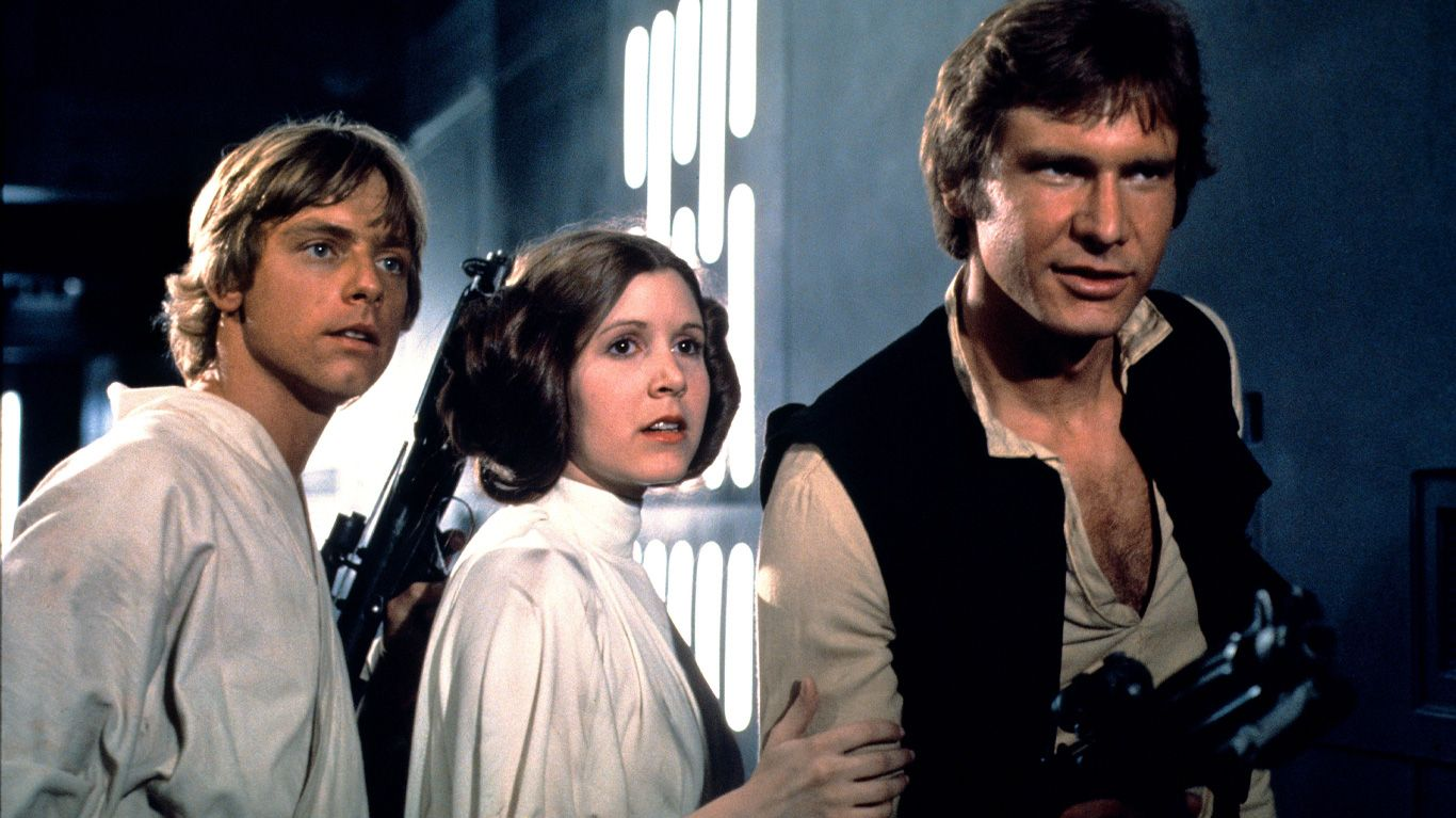 """Mark Hamill, Carrie Fisher and Harrison Ford in """"Star Wars: A New Hope."""""""