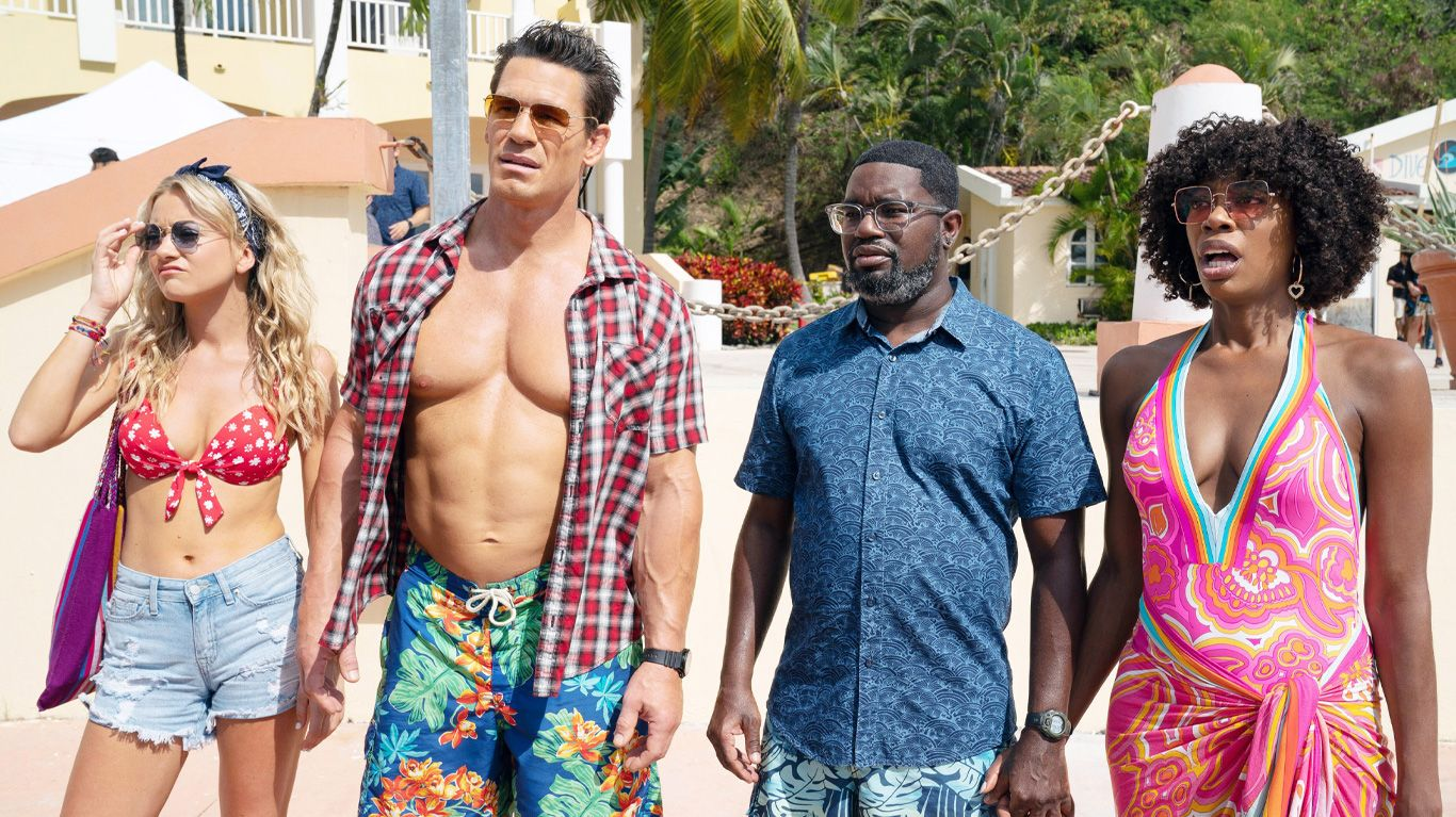 """Meredith Hagner, John Cena, Lil Rel Howery, and Yvonne Orji in """"Vacation Friends."""""""