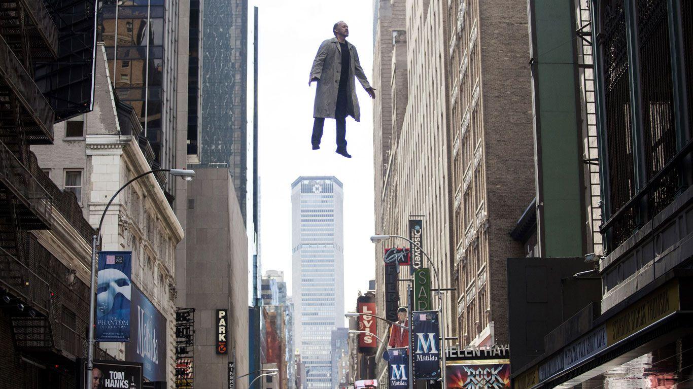 "Michael Keaton in ""Birdman or (The Unexpected Virtue of Ignorance)."""