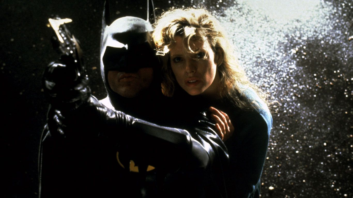 "Michael Keaton, Kim Basinger in ""Batman (1989)."""