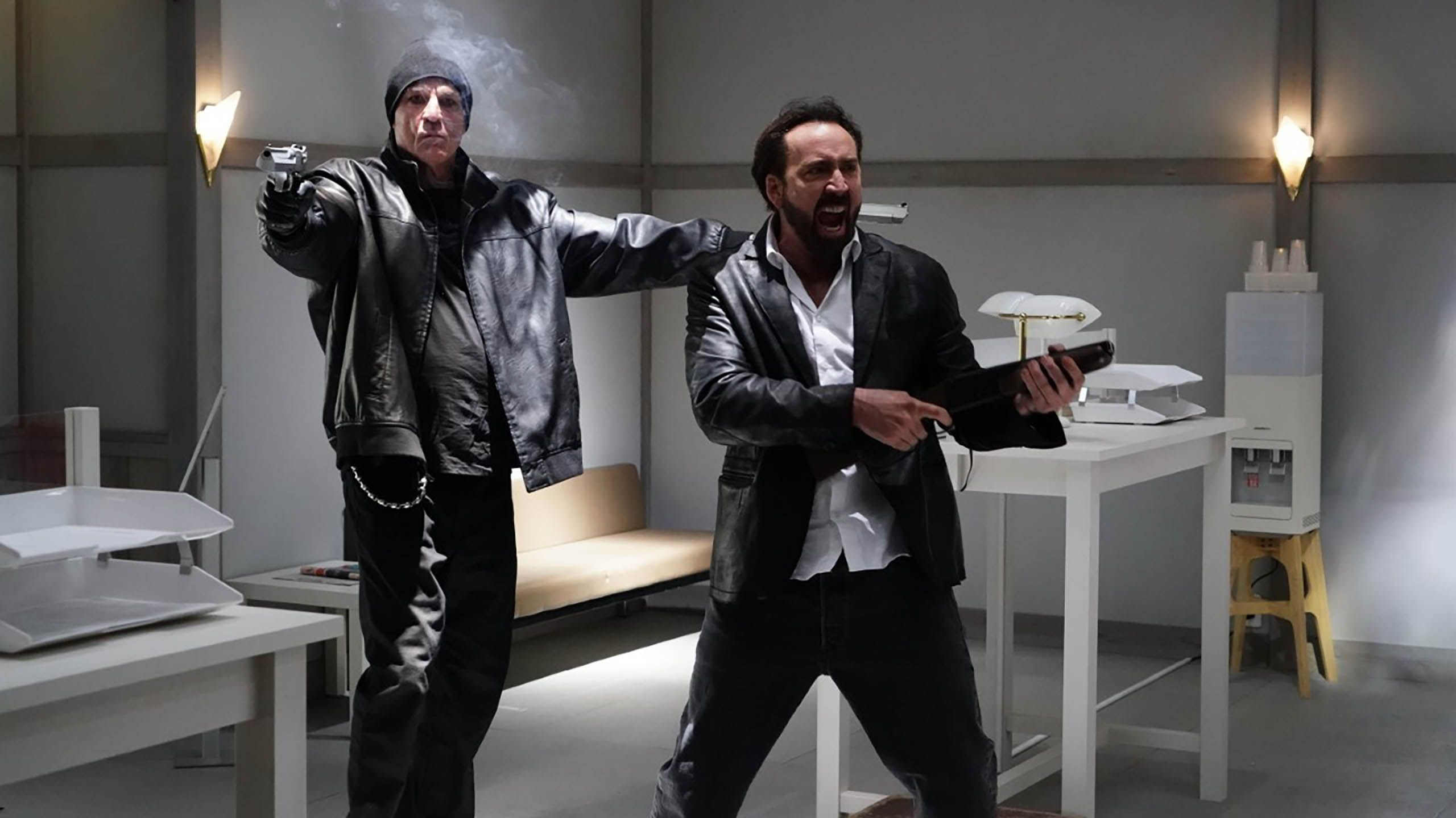 """Nick Cassavetes and Nic Cage in """"Prisoners of the Ghostland."""""""