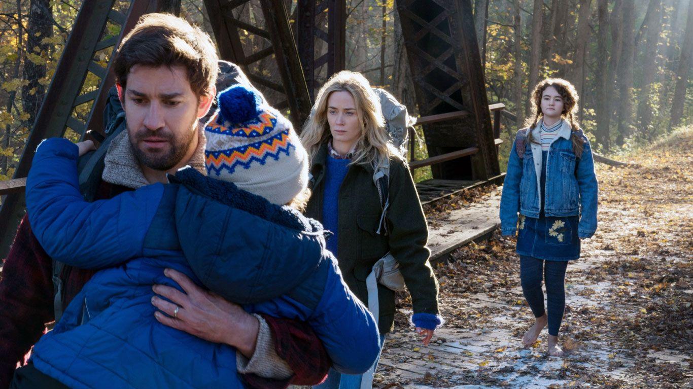 "Noah Jupe, John Krasinski, Emily Blunt, Millicent Simmonds in ""A Quiet Place."""