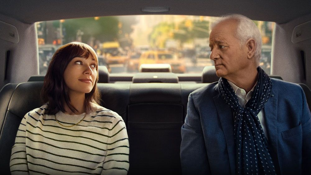 "Rashida Jones and Bill Murray in ""On the Rocks."""