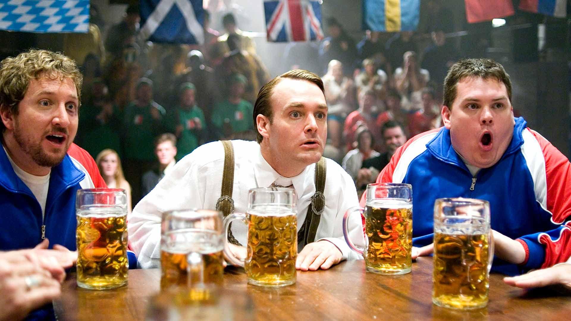 "Paul Soter, Will Forte, and Kevin Heffernan in ""Beerfest."""